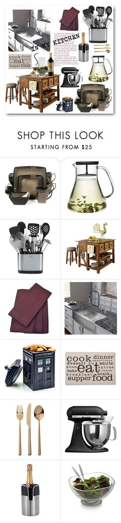 """IN MY KITCHEN"" by purplerose27 on Polyvore featuring interior, interiors, interior design, home, home decor, interior decorating, Klaussner, Vigo, Threshold and CB2"