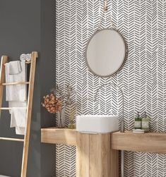 Minimalist Removable Wallpaper. Chevron Wallpaper. Modern | Etsy