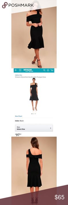 f00ada0034a One Shoulder Ponte Dress Adelyn Rae One-shoulder Ponte dress with  asymmetrical trumpet skirt and
