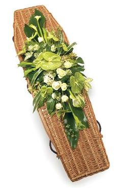 Double Ended Spray Whites A beautiful casket spray using exotic flowers & foliage, including Anthuriums, Calla Lilies and Roses with complementary fo Funeral Floral Arrangements, Flower Arrangements Simple, Casket Flowers, Funeral Flowers, Home Flowers, Exotic Flowers, Funeral Caskets, Funeral Sprays, Funeral Planning