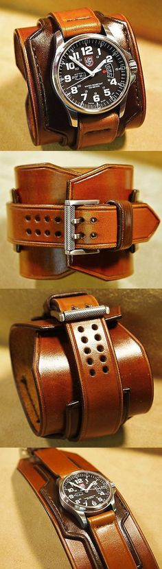 Other Mens Jewelry 177770: Luminox Brown Leather Cuff Watch Nathan Drake Freddie Matara Custom Made In Nyc BUY IT NOW ONLY: $1049.99