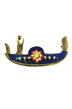 This vintage Italian micro mosaic brooch features a large gold gondola decorated with blue glass mosaic and a pink and white flower. Vintage Italian, Mosaic Glass, White Flowers, Retro, Brooches, Gold, Pink, Blue, Accessories