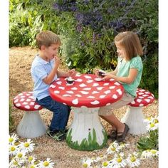 Handpainted Lightweight Resin Mushroom Table With Four Stools