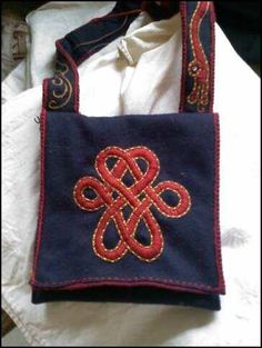 haversack. may try in Plaited Braid stitch. Note handle decoration.