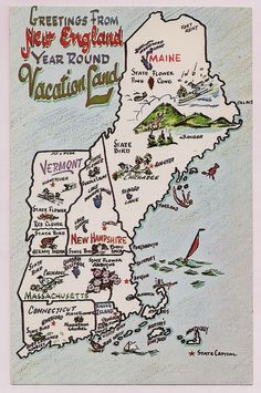 New England Map Postcard 1960's Retro Tourists VintagePackRat shop on Etsy
