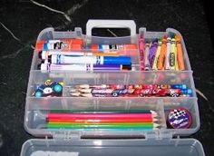 Use a takle box in place of a pencil box. Good way to organize school supplies by ana