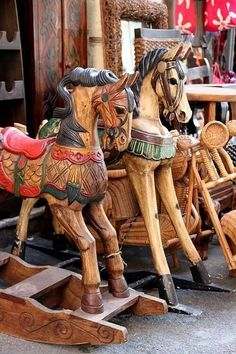 Wooden Horses, Sicily, Italy Even though they are not carousel Antique Rocking Horse, Vintage Horse, Wooden Rocking Horses, Antique Toys, Vintage Antiques, Wooden Horse, Pull Toy, Carousel Horses, Paperclay