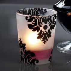 """Forbidden Fruits Votive Candle Holder by #PartyLite - Elegant black damask pattern dresses up our frosted glass holder. For use with votives or tealights, sold separately. 3"""" h, 2 1/2"""" dia. Was $10, now just $5"""