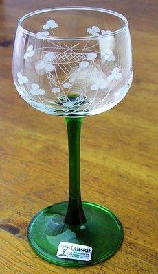 6 WT-Duiske Irish Aine-Hand Cut Crystal Clear Emerald Green Stem Glassware Set