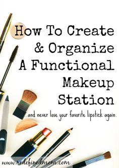 How To Create Organize Functional Portable Makeup Station | RedefinedMom.com