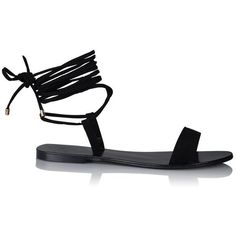 Reiko Sandal Black Suede found on Polyvore featuring shoes, sandals, black strappy sandals, black strap sandals, strappy sandals, wrap around ankle sandals and black suede sandals
