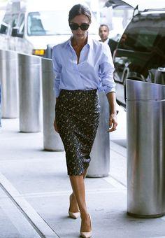 Victoria Beckham.. Victoria Beckham Pre-Spring 2015 - shirt and skirt, with Manolo Blahnik BB pumps..