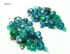 Earrings MARINE BUNCHES Dangling Earrings Flower by JUBIARTE