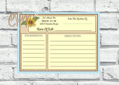 Sunflower Recipe Cards by CustomParty4U on Etsy