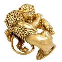 1stdibs - DAVID+WEBB+Double+Lion+Cuff+Bangle explore items from 1,700+ global dealers at 1stdibs.com