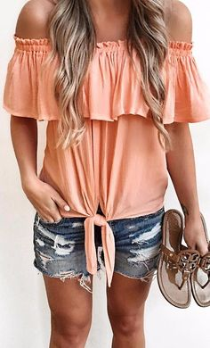 summer uniform peach off the shoulders + ripped shorts