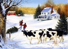 Linda Picken Art Studio / Country Christmas Cows with Tree.jpg