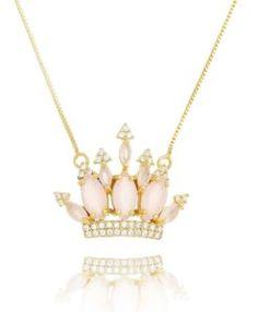colar coroa com zirconias cristais e quartzo rosa com banho de ouro semi joias de luxo online