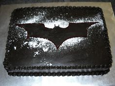 Batman Dark Knight cake - (finally made this cake) I sprayed over the stencil with wilton silver color mist then shook on powdered sugar. I kept the cake in the pan and tilted it nearly upright for displaying and shone a blue spotlight on the bat symbol. Birthday Cake For Mom, Birthday Desserts, Birthday Cake Decorating, 4th Birthday, Birthday Ideas, Batman Grooms Cake, Batman Cakes, Batman Birthday Cakes