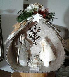 In this DIY tutorial, we will show you how to make Christmas decorations for your home. The video consists of 23 Christmas craft ideas. Christmas Cave, Christmas Angel Ornaments, Nativity Ornaments, Christmas Nativity Scene, Nativity Crafts, Felt Christmas, Christmas Decorations To Make, Homemade Christmas, Christmas Projects