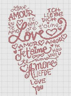 """Cross stitch Point de croix Heart with """"I Love You"""" in Different Languages Embroidery Hearts, Cross Stitch Embroidery, Hand Embroidery, Cross Stitch Designs, Cross Stitch Patterns, Beading Patterns, Embroidery Patterns, Cross Stitch Heart, Knitting Charts"""