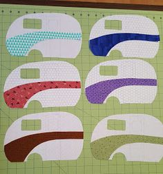 """I have one Work in Progress for this week and that is the camping quilt. Today I finished cutting out the trailers and their """"swooshes""""… . Quilting Projects, Sewing Projects, Wedding Cross Stitch Patterns, Applique Quilt Patterns, Camping Crafts, Camping Theme, Country Quilts, Barn Quilts, Mini Quilts"""
