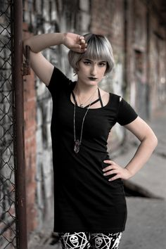 Leggins from Killstar Photoshoot from AltFair Nu goth, modern witch, allternative model with silver hair