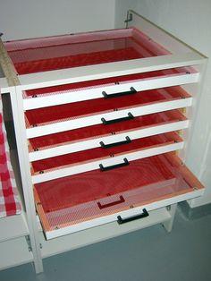 DIY Darkroom drying rack – six drawers each measuring 50 x 60 cm.
