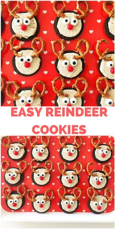 Easy Sandwich Reindeer Cookies. Super easy Christmas Holiday treat and dessert for holiday dinners, classroom parties. Fun for kids to make!
