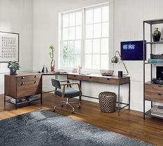 Shop Pottery Barn for office and computer desks in various sizes and styles. Create an organized work space with home office desks that are expertly crafted. Wood And Metal Desk, Metal Desks, Wood Desk, Home Office Desks, Office Furniture, Office Decor, Furniture Decor, Office Ideas, Basement Office