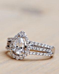 Wilson Diamonds: Ring Style Number R5098E #peardiamond #tripleband