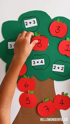 Get the free printable Easily and simple create a fun fall learning tool for your kids with this cute apple math tree learning activity! Perfect for addition lessons! Preschool Learning Activities, Preschool Activities, Teaching Kids, Preschool Printables, Baby Learning, Emotions Activities, Activities For 4 Year Olds, Numicon Activities, Emotions Preschool