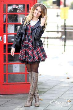 diagonal tartan A-line mini dress w/ snowy lace neckline Sexy Outfits, Pretty Outfits, Fall Outfits, Casual Outfits, Cute Outfits, Fashion Outfits, Grey Boots Outfit, Tights Outfit, Sexy Boots