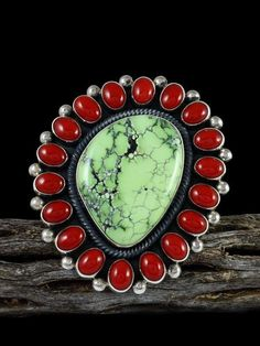 Coral Ring, Navajo, Turquoise, Tribal Jewelry, Sterling Silver, Rings, Bracelet Watch, Green, Cluster Ring