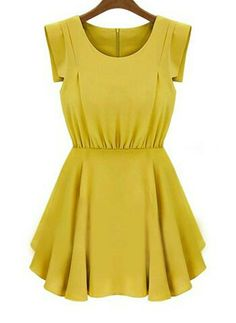 e178953f27ab To find out about the Green Short Sleeve Back Zipper Pleated Waist Dress at  SHEIN