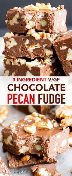 3 Ingredient Chocolate Pecan Fudge (Easy, Paleo, Vegan, Gluten Free, Dairy-Free) - My CMS Paleo Recipes Easy, Fudge Recipes, Dairy Free Recipes, Dessert Recipes, Paleo Dessert, Dinner Recipes, Cookie Recipes, Gluten Free Desserts, Vegan Desserts