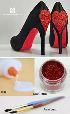DIY Queen Of Hearts Glitter Hearts Shoes