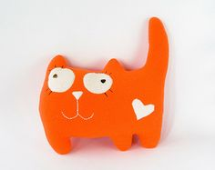 Orange cat pillow, cat soft toy, stuffed cat toy, cat stuffed animal-toy to sleep on or play ith for cat or family members (may be toddler/cat ar-order 2 in different colors)
