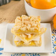 Meyer Lemon Streusel Bars | A scrumptious lemon bar with a sugar cookie crumble topping #ad