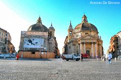 Photos of Piazza del Popolo in Rome with a view of the twin churches, as they are called Santa Maria in Montesanto (1675) and Santa Maria dei Miracoli (1678)