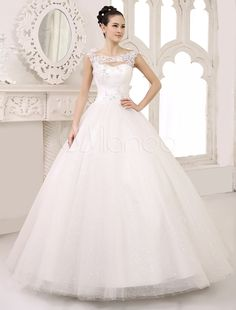 Ivory Ball Gown Scoop Neck Ruched Floor-Length Brides Wedding Dress