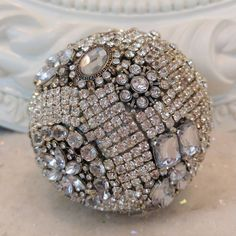 Gorgeous ALL Rhinestone ball ORNAMENT vtg jewelry Brooch pins earrings buttons * #Unbranded
