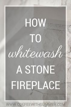 Newest Photos Stone Fireplace update Suggestions How To Whitewash A Stone Fireplace Whitewash Stone Fireplace, White Stone Fireplaces, White Wash Fireplace, Stone Fireplace Makeover, Wooden Fireplace, Fireplace Update, Paint Fireplace, Limestone Fireplace, Rock Fireplaces