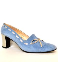 Vintage 60s Baby Blue Suede Bow Leather Heels 9 by StarletsVintage, $44.95