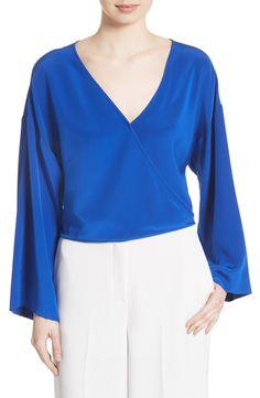 7ed5c0194489c New Diane von Furstenberg Bell Sleeve Faux Wrap Silk Blouse BLACK fashion  online.   228