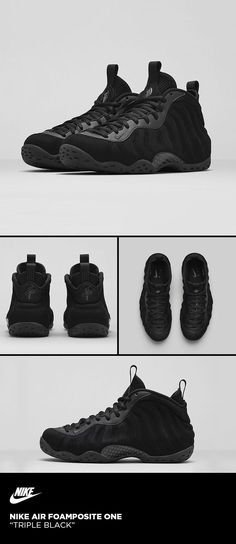 half off 36931 bbb7d Nike Air Foamposite One  Triple Black Sneaker Boots, All Black Foamposites,  Foams Shoes