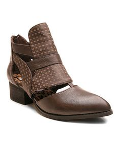 Another great find on #zulily! Brown Zag Leather Bootie #zulilyfinds