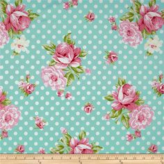 Tanya Whelan Rosey Roses and Mums Teal from @fabricdotcom  Colors include shades of pink, light green and a pale teal background.