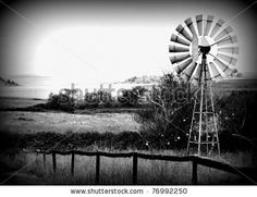 Dramatic Windmill Scenery by ByBethy, via ShutterStock Windmills, Wind Turbine, Whimsical, Photo Editing, Scenery, Royalty Free Stock Photos, Black And White, Gallery, Illustration
