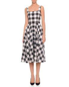 B2WCM Dolce & Gabbana Square-Neck Gingham Full Skirt Dress, Black/White